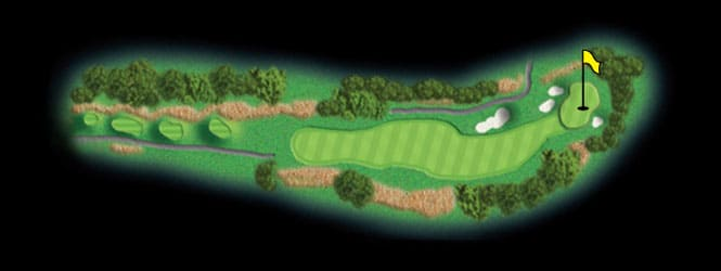 layout for hole 1 at the black mountain golf course