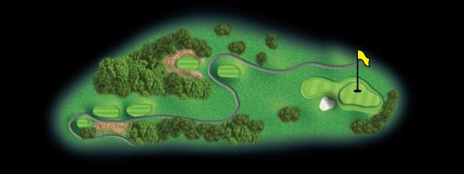 layout for hole 13 at the black mountain golf course