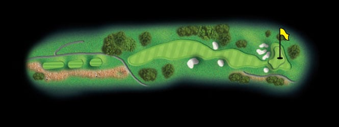 layout for hole 16 at the black mountain golf course