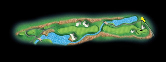 layout for hole 6 at the black mountain golf course