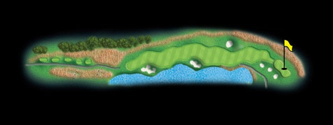 layout for hole 8 at the black mountain golf course